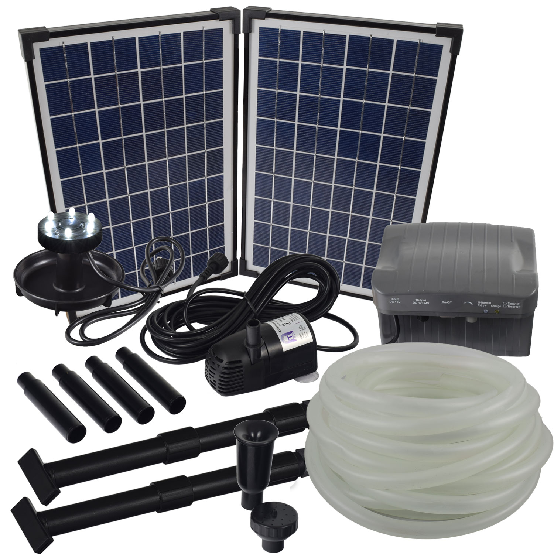 solar bachlaufpumpen set mit akku led 10m schlauch. Black Bedroom Furniture Sets. Home Design Ideas