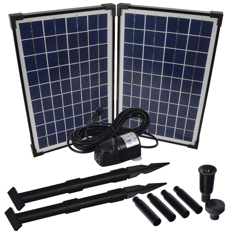 solar bachlaufpumpe set mit akku led 9m schlauch wasserfall bachlauf pumpe ebay. Black Bedroom Furniture Sets. Home Design Ideas